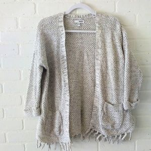 Chunky knit fringe cardigan sweater by Sonoma M